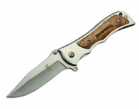 Wholesale best small camping knife for sale - Group buy 2016 Browning Small Folding Survival Knife Wood Handle EDC Pocket Knives Outdoor Rescue Best Gift Knives F572E