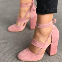 Wholesale Tie Up Lady - Womens Chunky High Heels Suede Closed Toe Sandals Lace Up Ankle Strappy Pumps Round Toe Party&Prom Fashion Ladies Big Size Shoes