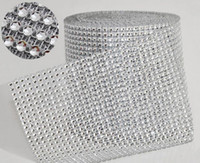 "Wholesale Wholesale Yards Bling - 10yard roll 4.75"" 24 Rows manmade Diamond Mesh yards wrap Rhinestone Ribbon Crystal trim Wrap sparkle bling ribbon Wedding Decoration WT029"