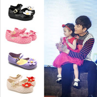 Wholesale Girls Sandals Flowers - 2016 New Melissa Summer Breathable Baby Sandals Kids Shoes For Girl With Two Flowers Soft Comfortable Princess Sneakers Eur 24-29