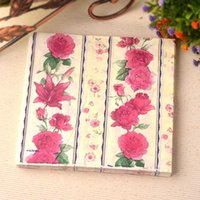 Wholesale A1 Wood - Low prices Wedding Color Paper Virgin Wood napkins Handkerchief pink rose bridal baby shower party decorations free shipping A1