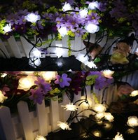 Atacado- 4.8M 20leds Rose Flower Solar Powered Waterproof Outdoor LED String Fairy Christmas Lights for Wedding PartyWarm / Branco / RGB / Azul