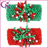 Wholesale Crochet Flower Hairbands - 20 pcs lot Blending Fishion 5.5 inch Twist Hair Flower Christmas Crochet Head Wrap Baby Girl Kids Headband