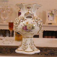 Wholesale Ceramic Vase Free Shipping - European high-grade ivory porcelain vase large ceramic vase send flowers craft luxurious palace Decoration Free shipping 160311#