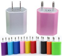 Wholesale Colorful Iphone 4s Wall Charger - Colorful Good Quality 5V 1A USB Travel AC Adapter US EU Plug Wall Home Charger Iphone 4s 5s 6s 7s plus