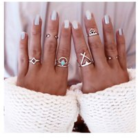 Silver Color 6 pcs / set Bohemian Opening Turquoise Rings Silver Arrow Cross Geometric Rhombus Triangle Joint Ring Christmas Gift D10S