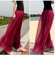 Wholesale Lightweight Skirts - fashion new gold silk chiffon culottes wide leg pants trousers plus size summer spring women Europe high waist beach split skirt capris hot
