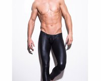 Wholesale Sexy Intimate Men - Wholesale-2016 New Men Sexy Faux Leather Pants Black Male Homewear Underwear Fashion Intimates Trousers Leggings Clubwear free shipping