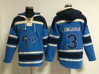 Wholesale Cheap Baseball Pullovers - Top Quality ! Cheap Tampa Bay Rays Old Time Baseball Jerseys #3 Evan Longoria Blue Baseball Hoodie Pullover Sweatshirts Winter Jacket