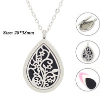 Wholesale Perfume Water - With chain as gift! wholesale water drop perfume locket 316L stainless steel diffuser locket aromatherapy locket necklace