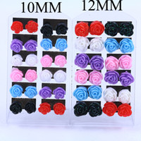 Barato Brincos De Resina Plástica-Mixed Colorful Resin Rose Flower Stud Earrings 10mm 12mm Plastic Rose Earrings Brincos para crianças 12pairs / lot FE128