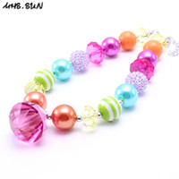 Wholesale Resin Chunky Pendants - MHS.SUN Multicolor Design Kid Chunky Necklace Diamond Pendant Bubblegum Bead Chunky Necklace Children Jewelry For Toddler Girls