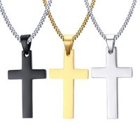 Wholesale titanium cross necklace men - MCW Religion Style Pendant 35MM Titanium Steel Necklace Christian Cross Pendant Necklace for Men and Women Three Colors
