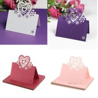 Wholesale Wedding Place Card Cut Out - Wholesale- Love Heart Cut-out Wedding Birthday Christmas Table Decoration Place Name Cards 12Pcs set