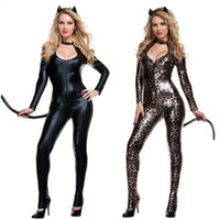 Cosplay Ladies Cougar Catsuit Fancy Dress Cost Sexy Leopard Jungle Cat FANCY dress Outfit S138