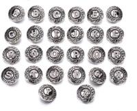 alfabetos metálicos caber pulseiras venda por atacado-Inicial A-Z Letra Do Alfabeto 18mm Botão Snap Jóias Botão De Metal Snap Fit Snaps Botão Pulseira Colar Brinco Z0079