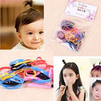 Wholesale Hot Sale Baby Girl Rainbow - Rainbow Colors Hot Sale Mini Baby Girls Strong Basic Elastic Hair Bands Small Kids Rubber Bands hair Accessories Good Hair Loops