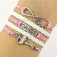 Wholesale Customs Dance - Custom-Love Dance to Infinity and Beyond Bracelet Dancer Dancing Wrap Bracelet Ballerina Ballet Dancer Adjustable Bangles-Drop Shipping