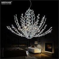 Wholesale Modern Floral Pendant Light - Modern Crystal Pendant Light Fixture Vintage Floral French Crystal Lustre Hanging Lamp Suspension Light MD2367
