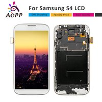 Wholesale Lcd Display Galaxy S4 - LCD Display For Samsung Galaxy S4 i9500 i9505 i9515 i337 Touch Screen Digitizer Assembly With Bezel Frame+Free DHL AAA+++High Quality
