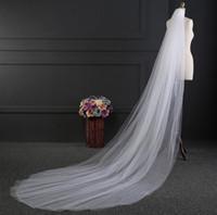 Wholesale Wedding Veil Ivory 3m - 2017 Two Layer 3m Chapel Length wedding veil Cut Edge Bridal Veil Sexy Beads Tulle Beautiful Wedding Bridal Accessiories