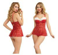 Wholesale Lady Sexy Santa - Fashion Ladies Sexy Underwear For Girls Xams Decoration Couple Cosplay Women Red Perspective Pajamas Santa Claus