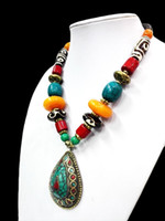 Wholesale 18k Coral Earrings - 18'' Ethnic Bright Waterdrop Pendant Necklace Howlite Turquoise Dzi bead Amber oyzz-008