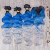 bakire brezilya saç mavisi toptan satış-1b Mavi Gri Saç Demetleri Brezilyalı Bakire Saç Demetleri Ile 3 Adet Dantel Kapatma Koyu Kök Slivery Gri Mavi Vücut Dalga Saç Kapatma Ile