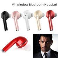 ahizesiz kablo toptan satış-V1 kulaklık mini bluetooth kablosuz kulaklık müzik handsfree kulaklık stereo araç sürücüsü kulaklık mikrofon ile kulak kulaklık şarj kablosu