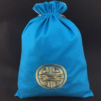 Wholesale Ethnic Lingerie - Ethnic Embroidery Lucky Cotton Linen Eco Bags UnderwearTravel Bra Bag Drawstring Lingerie Storage Bags Chinese Fabric Gift Packaging Pouch