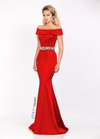 2016 ASHLEY Lauren Mermaid abiti da sera sexy Bateau telaio in rilievo Guaina Prom Dresses drappeggiato Gonne increspature abiti di sera