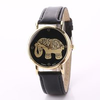 Wholesale Elephant Pins - New Arrival Golden Elephant Pattern PU Leather Analog Quartz Watches Women 2016 Casual Relogio Feminino Free Shipping