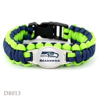 Wholesale African Bowl - Men Gift Seattle Super Bowl Seahawk Championship Rugby team The umbrella rope Bracelet weaving outdoor Gift