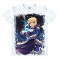 Wholesale Saber Fate Zero - Wholesale-New Arrival Anime t shirt Fate zero Fate ubw Fate stay night saber curse emblem saber King Arthur Knight Men Anime T shirt