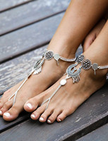 Wholesale Gypsy Anklet - Gypsy Antique Silver Turkish Coin Waterdrop Tassel Anklet Ankle Bracelet Beach Foot Jewelry Summer Women Anklets xr160706-6