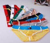 Wholesale translucent briefs - #4006SJ Free shipping wholesale Wangjiang Brand Men's underwear stripes gauze sexy briefs silky translucent thin underpants panties cuecas