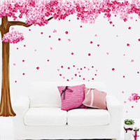 Wholesale home decor tv for sale - Cherry Blossom Tree Wall Decal Removable PVC Art Sticker for Home Kids Bedroom Children Playroom Living Room TV Sofa Backdrop Decor