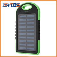 Wholesale Bank Commercial - 5000mAh Solar Charger and Battery Solar Panel portable power bank for Cell phone Laptop Camera MP4 With Flashlight waterproof shockproof