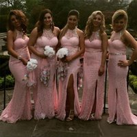 Wholesale Halter Lace Mermaid Wedding Gowns - Gorgeous 2017 Pink Full Lace Mermaid Bridesmaid Dresses Long Sexy Halter Beaded Sash Collar Side Split Wedding Guest Gowns Custom EF70511