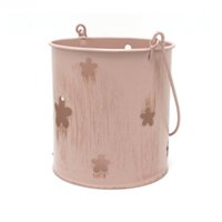Wholesale Ceramic Wall Baskets - garden decoration supplies iron pink wall hanging baskets out yard metal bucket Favor Pail-flower hollow aging treatment