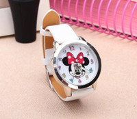 Wholesale Watch Mouse - Cartoon Beautiful girl Mickey Minnie mouse style Color number dial children students girl's leather quartz wrist watch