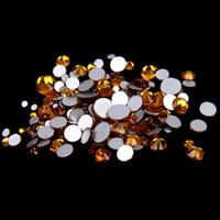 cristal rhinestone cristal chatons venda por atacado-topázio SS12-SS30 não Hotfix cristal strass Facetas Flatback Glue em strass Diamantes de vidro Chatons DIY Artesanato Vestuário Decoração