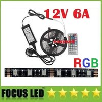 Wholesale Led Pcb Remote Control - Black PCB 5050 RGB Led Lights Strip Waterproof 12V 5M Kit + 44key Remote Control + 12V 6A Power Drivers US EU UK AU Plug