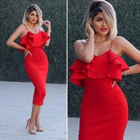 vestidos vermelhos simples venda por atacado-2018 New Sexy Hot Red Curto Coquetel Vestidos Simples Chá Comprimento Curto Vestidos de Baile Espaguete Homecoming Vestidos de Festa Vestido Barato Bainha