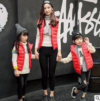 Wholesale Womens Winter Sleeveless Vests - Mother and kids clothes girls hooded princess vest coat boys zipper waistcoat womens warm waistcoat family autumn winter outwear T4972