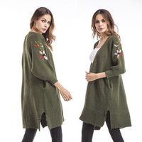 Wholesale Korean Ladies Winter Top - Embroidered Sweater 2017 Korean Women Loose Kimimo Cardigan Lady Winter Long Knitted Jumper Tops Casual Poncho Women Cardigans
