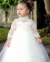 Wholesale First Communion Little Princess - Lovely Lace High Neck Flower Girls Dresses Long Sleeves 2017 Tulle Ball Gowns Little Kids Skirts Princess First Communion Dresses Children