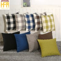 Wholesale Types Cushions Pillows - Cushion Cover Pillow Case Living Room Bedroom Lattice And Pure Color Cushion Cover Linen Pillowcase For Home Decoration 2 Types