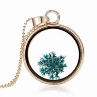 Criativo Blue Dried Flower Specimens Colares Colchões De Cristal De Cristal Colar Pingente De Herbário Ture Flower Fashion Jewelry Gifts For Women