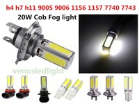 Wholesale H11 Led Head Light - COB LED H4 H7 H11 9005 9006 1156 1157 7440 7443 Fog DRL Car LED Day Driving Head Bulb Light 20W COB